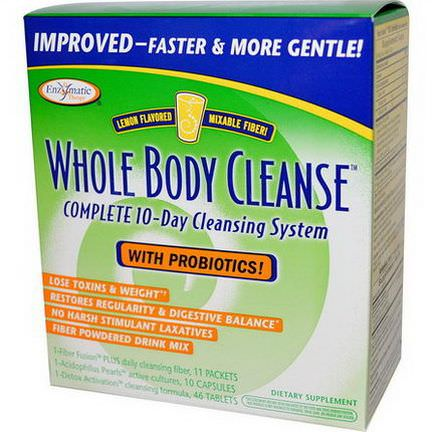 Enzymatic Therapy, Whole Body Cleanse, Complete 10-Day Cleansing System, Lemon Flavored, 3 Piece Kit