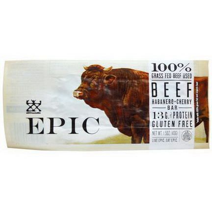 Epic Bar, Beef, Habanero Cherry Bar, 12 Bars 43g Each
