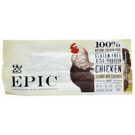 Epic Bar, Chicken, Sesame BBQ Seasoned Bars, 12 bars 43g Each