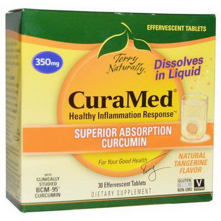 EuroPharma, Terry Naturally, CuraMed, Tangerine Flavor, 350mg, 30 Effervescent Tablets
