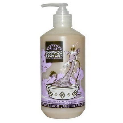 Everyday Shea, Shampoo&Body Wash, Gentle for Babies on Up, Lemon-Lavender 475ml