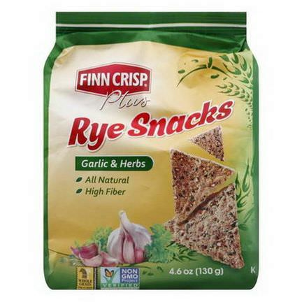 Finn Crisp, Plus, Rye Snacks, Garlic&Herbs 130g