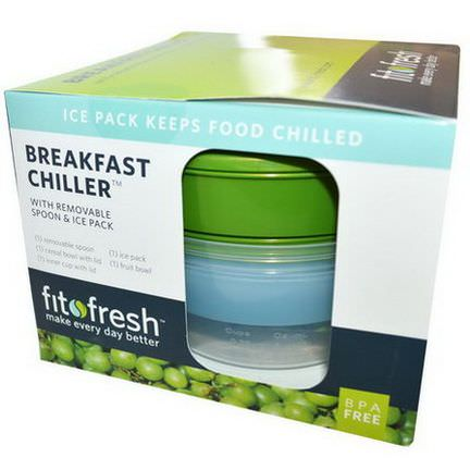 Fit&Fresh, Breakfast Chiller with Removable Spoon&Ice Pack, 7 Piece Bowl Set