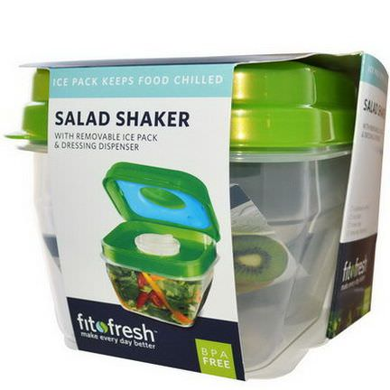 Fit&Fresh, Salad Shaker with Removable Ice Pack&Dressing Dispenser, 5 Piece Bowl