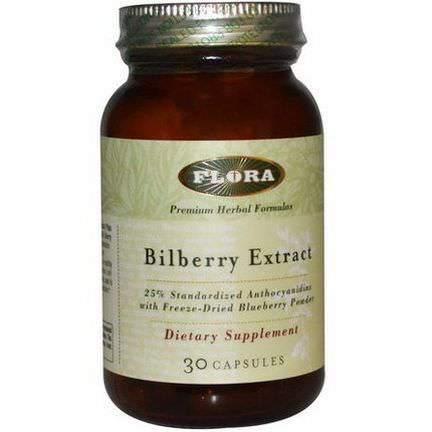 Flora, Bilberry Extract, 30 Capsules