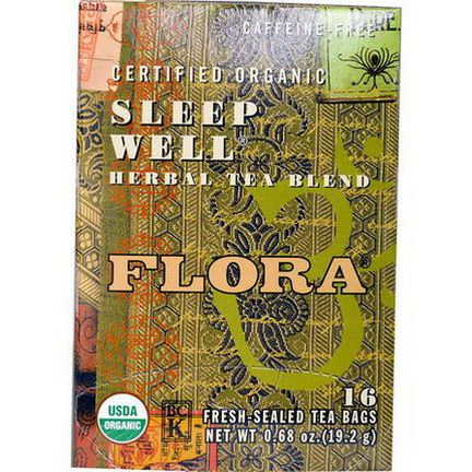 Flora, Certified Organic Sleep Well Herbal Tea Blend, Caffeine-Free, 16 Tea-Bags 19.2g