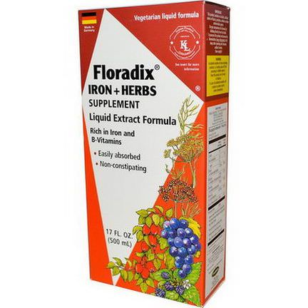 Flora, Floradix, Iron Herbs Supplement, Liquid Extract Formula 500ml