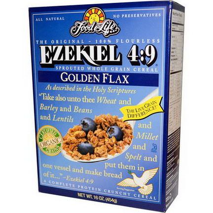 Food For Life, Ezekiel 4:9, Sprouted Whole Grain Cereal, Golden Flax 454g