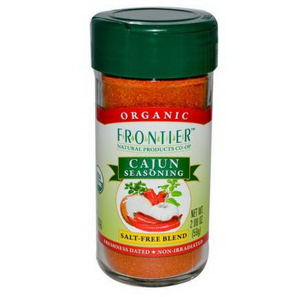 Frontier Natural Products, Organic Cajun Seasoning, Salt-Free Blend 59g