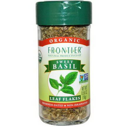 Frontier Natural Products, Organic, Sweet Basil, Leaf Flakes 16g