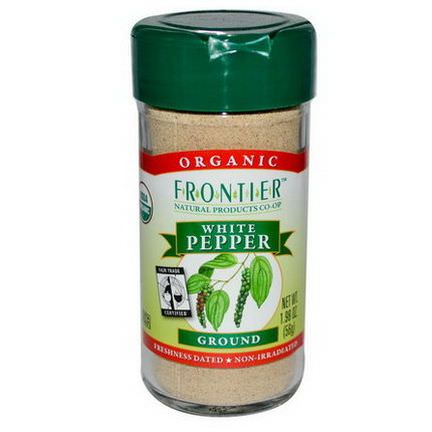 Frontier Natural Products, Organic White Pepper, Ground 56g