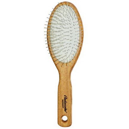Fuchs Brushes, Ambassador Hairbrush, Wooden, Large, Oval/Steel Pins, 1 Hair Brush