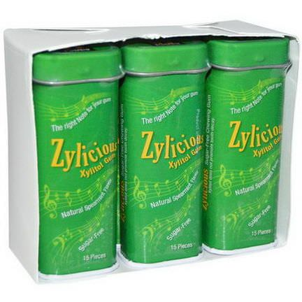 Fun Fresh Foods, Zylicious Xylitol Gum, Natural Spearmint Flavor, 6 Tins 15 Pieces Each