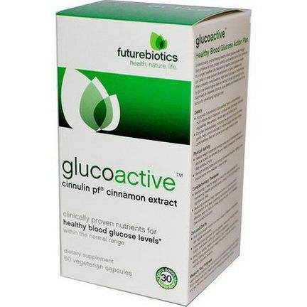 FutureBiotics, GlucoActive, Cinnulin PF Cinnamon Extract, 60 Veggie Caps