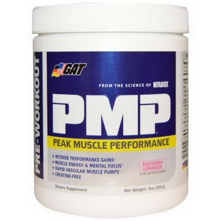 GAT, PMP, Pre-Workout, Peak Muscle Performance, Raspberry Lemonade 255g