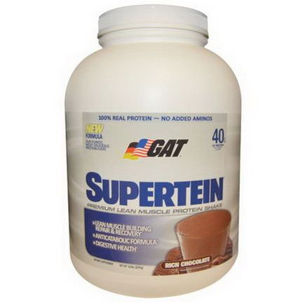 GAT, Supertein, Premium Lean Muscle Protein Shake, Rich Chocolate 2270g