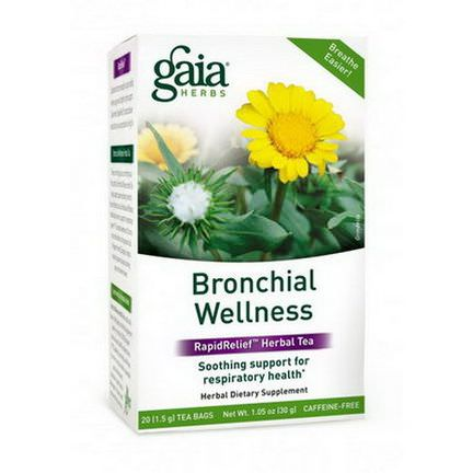 Gaia Herbs, Bronchial Wellness, RapidRelief Herbal Tea, Caffeine-Free, 20 Tea Bags 30g
