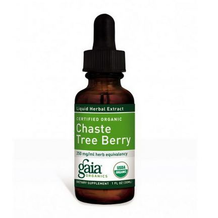 Gaia Herbs, Certified Organic, Chaste Tree Berry 30ml