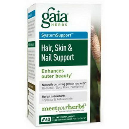 Gaia Herbs, Hair, Skin&Nail Support, 60 Vegetarian Liquid Phyto-Caps