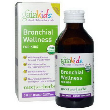 Gaia Herbs, Kids, Bronchial Wellness, for Kids, Alcohol-Free 89ml