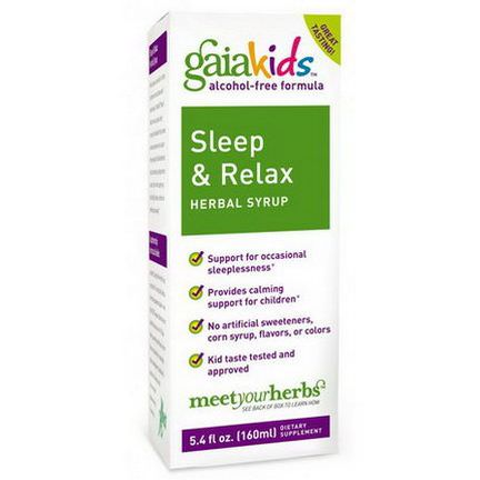 Gaia Herbs, Kids, Sleep&Relax Herbal Syrup, Alcohol-Free 160ml