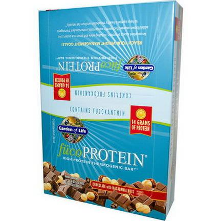 Garden of Life, FucoProtein, High Protein Thermogenic Bar, Chocolate with Macadamia Nuts, 12 Bars 55g Each