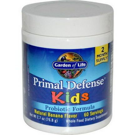 Garden of Life, Kids, Primal Defense, Probiotic Formula, Natural Banana Flavor 76.8g