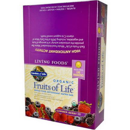 Garden of Life, Living Foods, Organic, Fruits of Life, Whole Food Antioxidant Matrix Bar, Summer Berry, 12 Bars 64g Each