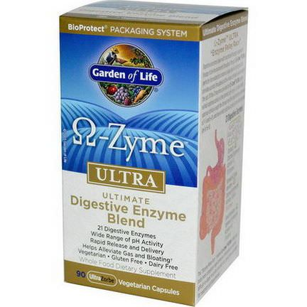 Garden of Life, O-Zyme Ultra, Ultimate Digestive Enzyme Blend, 90 Veggie Caps