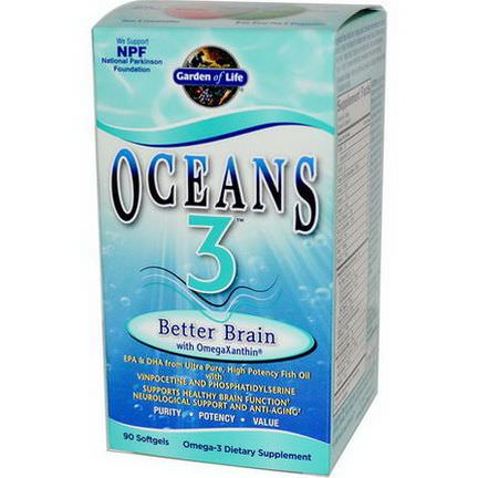 Garden of Life, Oceans 3, Better Brain with OmegaXanthin, 90 Softgels