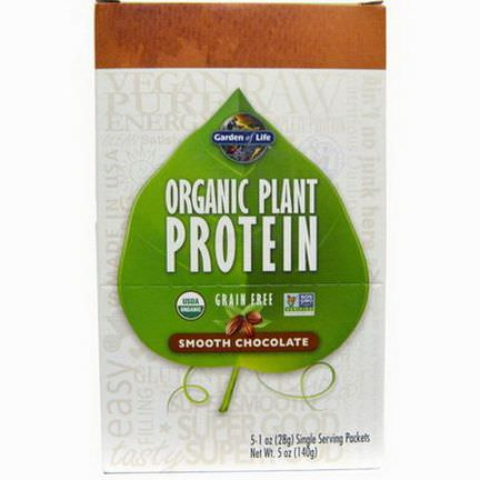 Garden of Life, Organic Plant Protein, Grain Free, Smooth Chocolate, 5 Single Serving Packets 28g Each