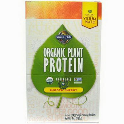 Garden of Life, Organic Plant Protein, Grain Free, Smooth Energy, 5 Single Serving Packets 24g Each