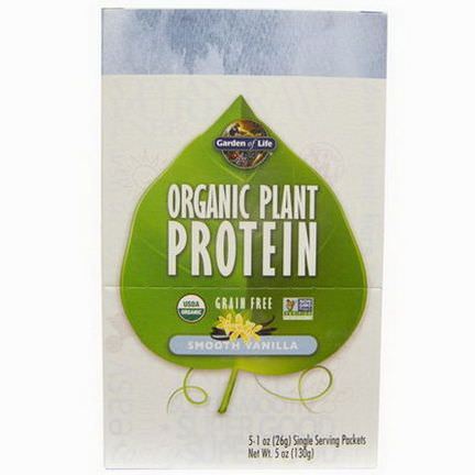 Garden of Life, Organic Plant Protein, Grain Free, Smooth Vanilla, 5 Single Serving Packets 26g Each