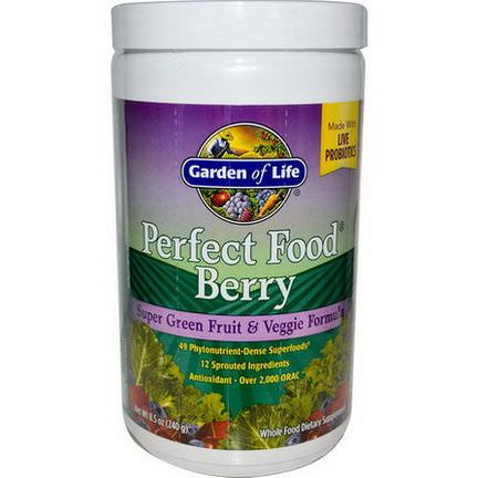 Garden of Life, Perfect Food Berry, Super Green Fruit&Veggie Formula 240g