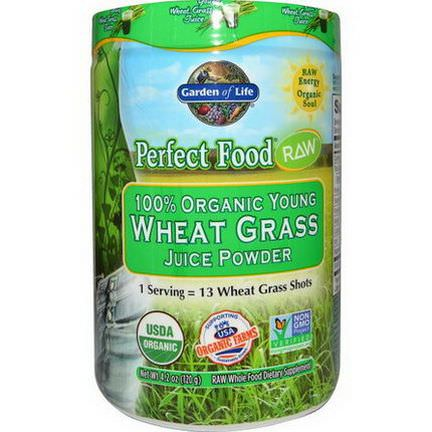 Garden of Life, Perfect Food RAW - 100% Organic Young Wheat Grass Juice Powder 120g
