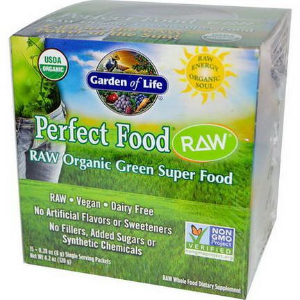 Garden of Life, Perfect Food, RAW Organic Green Super Food, 15 Packets 8g Each
