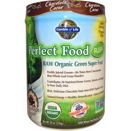 Garden of Life, Perfect Food, RAW Organic Green Super Food, Chocolate Cacao 570g