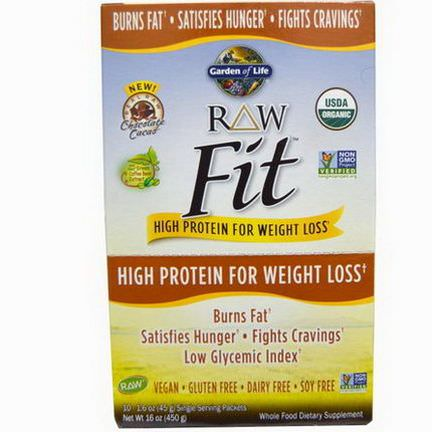 Garden of Life, RAW Fit, High Protein for Weight Loss, Chocolate Cacao 45g Each