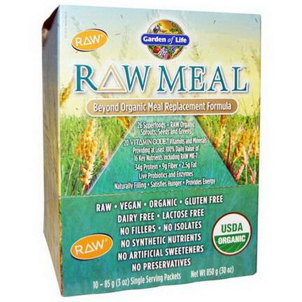 Garden of Life, RAW Meal, Beyond Organic Meal Replacement Formula, 10 Packets 85g Each