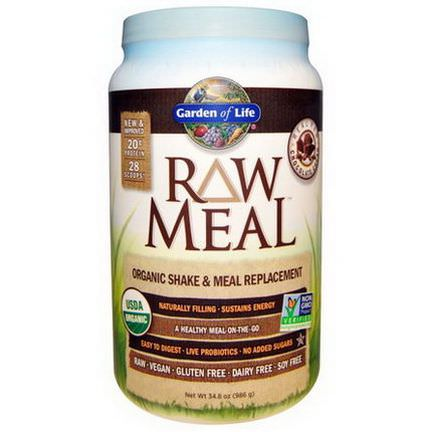 Garden of Life, RAW Meal, Organic Shake&Meal Replacement, Chocolate Cacao 986g