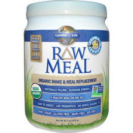 Garden of Life, RAW Meal, Organic Shake&Meal Replacement, Vanilla 475g