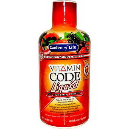 Garden of Life, Vitamin Code Liquid, Multivitamin Formula, Fruit Punch Flavor 900ml