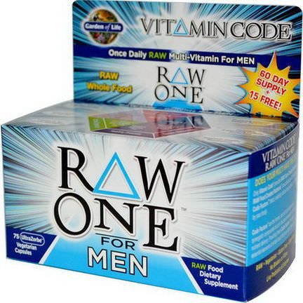 Garden of Life, Vitamin Code, Raw One, Once Daily Raw Multi-Vitamin for Men, 75 UltraZorbe Veggie Caps