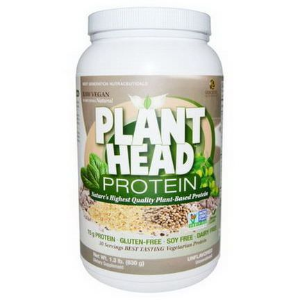 Genceutic Naturals, Plant Head Protein, Unflavored 630g