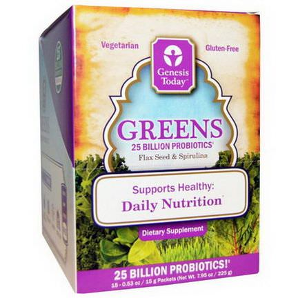 Genesis Today, Greens, Flax Seed&Spirulina, 15 Packets, 0.5 oz Each