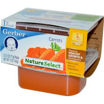 Gerber, 1st Foods, NatureSelect, Carrots, 2 Packs 71g Each