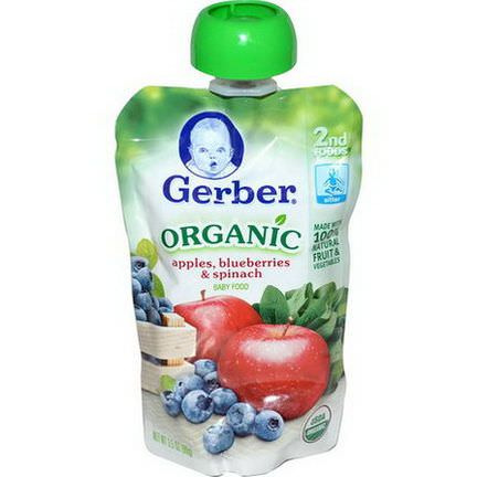 Gerber, 2nd Foods, Organic Baby Food, Apples, Blueberries&Spinach 99g