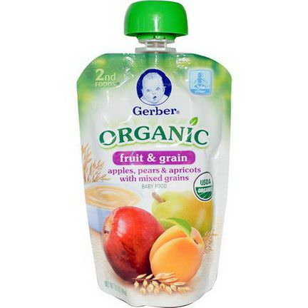 Gerber, 2nd Foods, Organic, Baby Food, Fruit&Grain, Apples, Pears&Apricots with Mixed Grains 99g