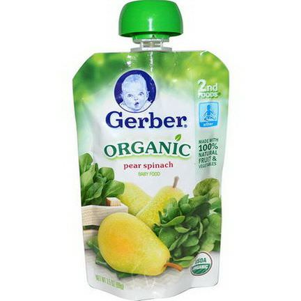 Gerber, 2nd Foods, Organic Baby Food, Pear Spinach 99g