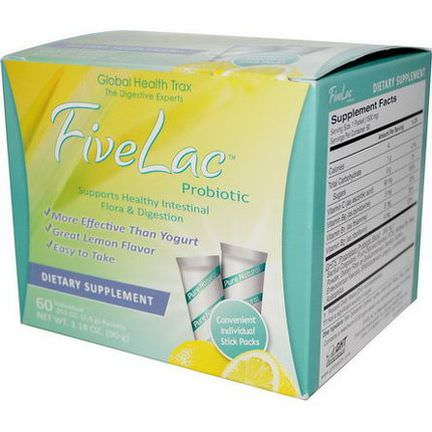 Global Health Trax, FiveLac Probiotic, Lemon Flavor, 60 Packets 1.5g Each